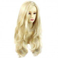 Sexy Fabulous Long Layers Wavy Wig Light Blonde Ladies Wigs Skin Top UK