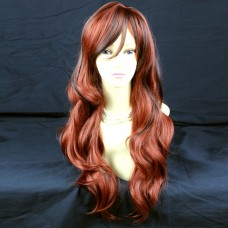 Beautiful Long Wavy Dark Brown mix Copper Red Ladies Wigs from wiwigs UK