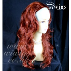Copper Red 3/4 Fall Hairpiece Long Wavy Layered Half Wig Hair Piece #130