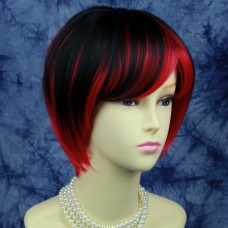 Lovely Short Cosplay Red Mix Black Ladies Wigs
