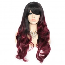 Sexy Black Brown & Burgundy Beautiful Long Wavy Ladies Wigs Dip-Dye Ombre hair Wiwigs uk