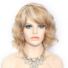 Beautiful Short Curly Strawberry Blonde Light Blonde mix Summer Style Ladies Wig UK