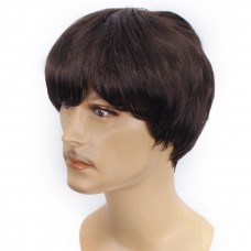 Mens Short Wig Dark Brown mix with Dark Auburn Men's Full Wig