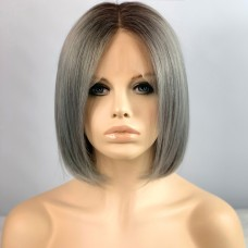 Remy Human Bob Grey Dip-Dye Ombre Brown Hair Lace Front Ladies Wigs