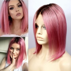 "Remy Human12"" Bob Hot Pink Dip-Dye Ombre Black Hair Lace Front Ladies Wigs"