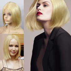 Remy Human Blonde Bob Heat Resistant Hair Lace Front Ladies Wigs