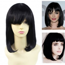 Remy Human Hair Straight Bob Heat Resistant Hair With Fringe Black Ladies Wigs