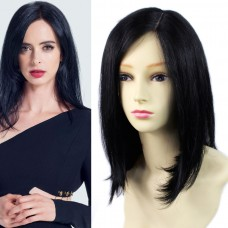 Remy Human Hair Straight Bob Skin Top Parting Closure Hair Off Black Ladies Wigs
