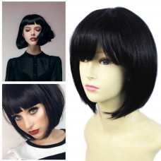 Remy Human Hair Straight Bob Heat Resistant Hair With Fringe Off Black Ladies Wigs