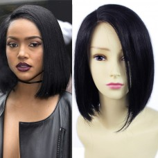 Remy Human Hair Straight BobSkin Top Parting Closure Hair Black Ladies Wigs