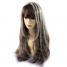 Sexy Long Brown mix Blonde skin top Natural Wavy hair Ladies Wigs from WIWIGS UK