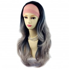 AMAZING Black Brown & Grey Long Wavy Dip-Dye Ombre Half Wig