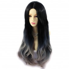 AMAZING Black Brown & Grey Long Wavy Lady Wigs Dip-Dye Ombre hair WIWIGS UK