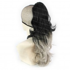 Clip in Dip-Dye Ombre Hair Piece Extension Long Wavy Black & Grey Ponytail UK