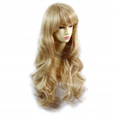 Sexy Beautiful Layered wavy Blonde mix Long Ladies Wigs Skin Top Wig UK