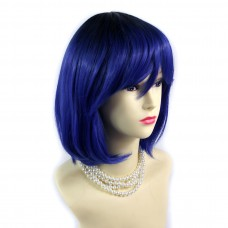 Wiwigs ® Gorgeous Short Bob Style Wig Blue & Off Black Dip-Dye Ombre Hair UK