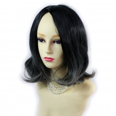 Wiwigs ® Lovely Medium Bob Style Wig Grey & Off Black Dip-Dye Ombre Hair UK