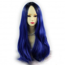 Wiwigs ® Fabulous Long Straight Wig Blue & Off Black Dip-Dye Ombre Hair UK