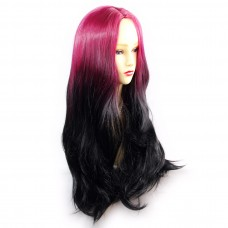 Wiwigs ® Fabulous Long Straight Wig Light Wine Red & Off Black Dip-Dye Ombre Hair UK