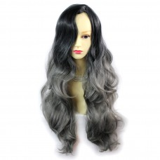 Wiwigs ® Pretty Long Wavy Wig Grey & Off Black Dip-Dye Ombre Hair UK