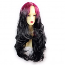 Wiwigs ® Pretty Long Wavy Wig Light Wine Red & Off Black Dip-Dye Ombre Hair UK