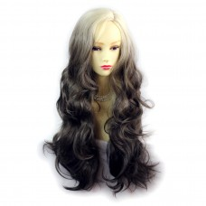 Wiwigs ® Pretty Long Wavy Wig Light Blonde & Medium Brown Dip-Dye Ombre Hair UK