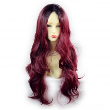 Wiwigs ® Gorgeous Long Wavy Wig Burgundy & Off Black Dip-Dye Ombre Hair UK