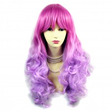 Wiwigs ® Romantic Long Curly Wig Dark Pink & Light Purple Dip-Dye Ombre Hair UK