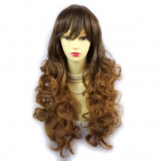 Wiwigs ® Romantic Long Curly Wig Strawberry Blonde & Light Brown Dip-Dye Ombre Hair UK