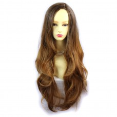Wiwigs ® Gorgeous Long Wavy Wig Strawberry Blonde & Light Brown Dip-Dye Ombre Hair UK