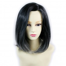 Wiwigs ® Wonderful Medium Bob Style Wig Grey & Off Black Dip-Dye Ombre Hair UK