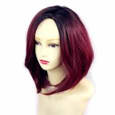 Wiwigs ® Wonderful Medium Bob Style Wig Burgundy & Off Black Dip-Dye Ombre Hair UK