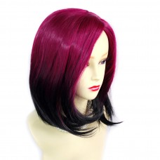 Wiwigs ® Wonderful Medium Bob Style Wig Light Wine Red & Off Black Dip-Dye Ombre Hair UK