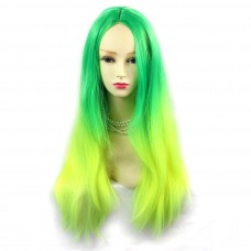 Wiwigs ® Romantic Long Straight Wig Green & Light Yellow Dip-Dye Ombre Hair UK