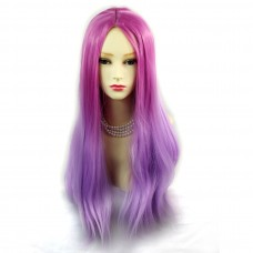 Wiwigs ® Romantic Long Straight Wig Dark Pink & Light Purple Dip-Dye Ombre Hair UK