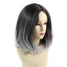 Wiwigs ® Pretty Medium Bob Style Wig Grey & Medium Brown Dip-Dye Ombre Hair UK