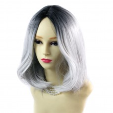 Wiwigs ® Pretty Medium Bob Style Wig Grey & Off Black Dip-Dye Ombre Hair UK