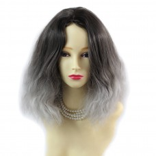 Wiwigs ® Untamed Medium Curly Wig Grey & Medium Brown Dip-Dye Ombre Hair