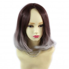 Wiwigs ® Lovely Medium Bob Style Wig Grey & Dark Auburn Dip-Dye Ombre Hair UK