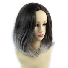 Wiwigs ® Lovely Medium Bob Style Wig Grey & Medium Brown Dip-Dye Ombre Hair UK