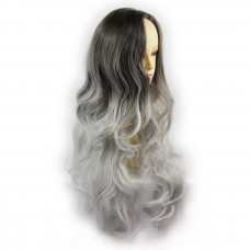 Wiwigs ® Pretty Long Wavy Wig Grey & Medium Brown Dip-Dye Ombre Hair UK