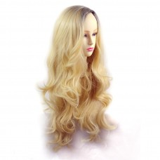 Wiwigs ® Pretty Long Wavy Wig Light Golden Blonde & Dark Brown Dip-Dye Ombre Hair UK