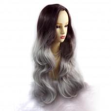 Wiwigs ® Gorgeous Long Wavy Wig Grey & Dark Auburn Dip-Dye Ombre Hair UK