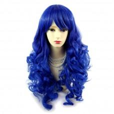 Wiwigs ® Romantic Long Curly Wig Blue & Dark Blue Dip-Dye Ombre Hair UK