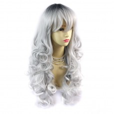 Wiwigs ® Romantic Long Curly Wig Grey & Off Black Dip-Dye Ombre Hair UK