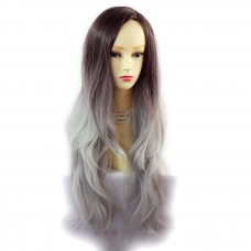 Wiwigs ® Gorgeous Long Wavy Wig Grey & Dark Auburn Dip-Dye Ombre Hair UK