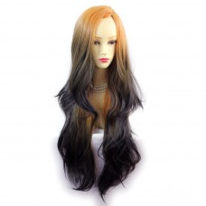 Wiwigs ® Gorgeous Long Wavy Wig Dark Brown Dip-Dye Ombre Hair UK