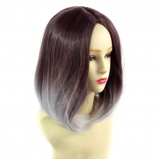 Wiwigs ® Wonderful Medium Bob Style Wig Grey & Dark Auburn Dip-Dye Ombre Hair UK