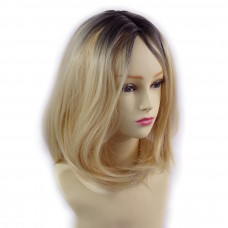 Wiwigs ® Wonderful Medium Bob Style Wig Light Golden Blonde & Dark Brown Dip-Dye Ombre Hair UK
