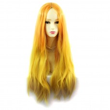 Wiwigs ® Romantic Long Straight Wig Light Orange & Yellow Dip-Dye Ombre Hair UK